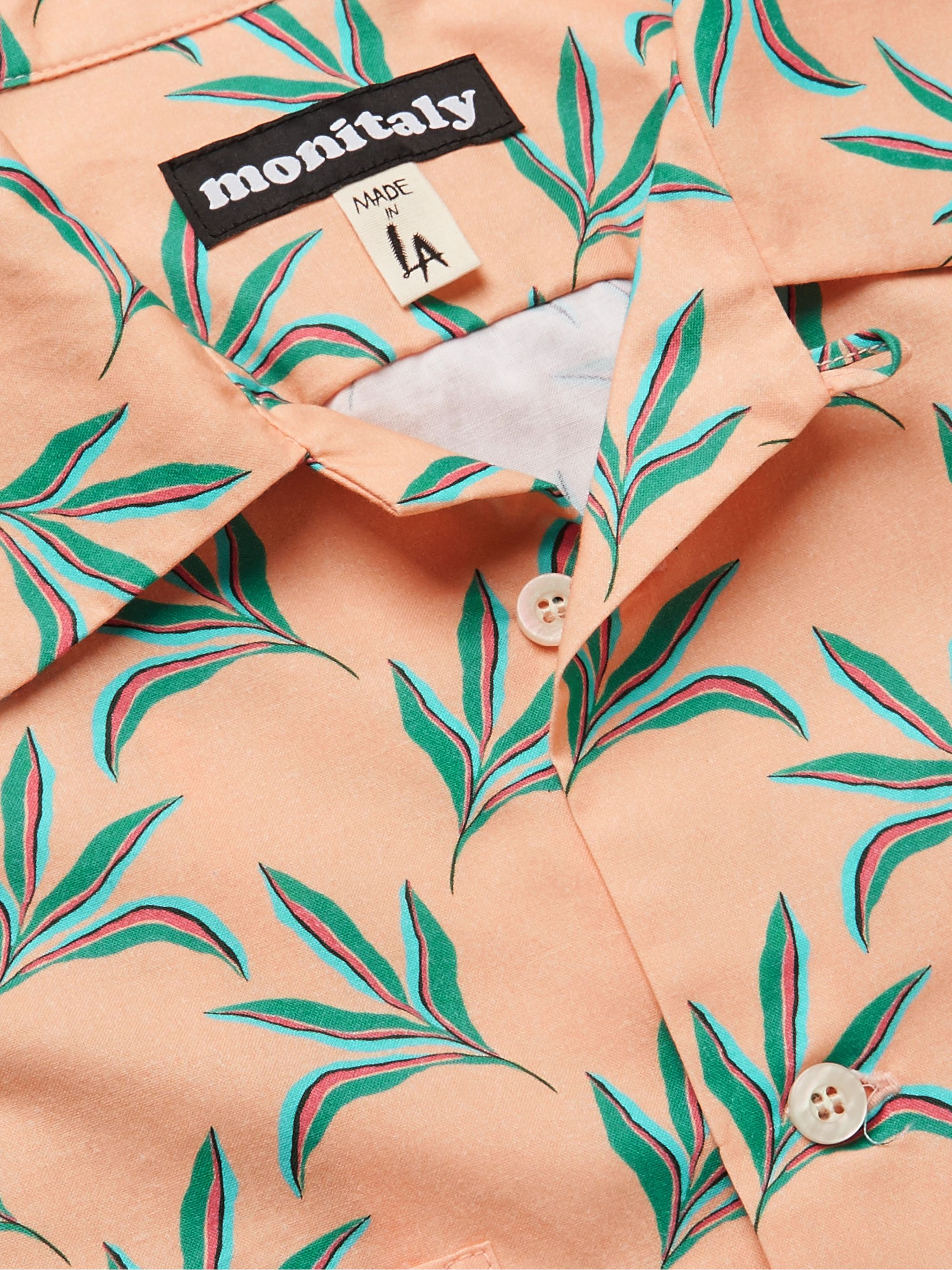 Monitaly Camp-Collar Printed Cotton Shirt