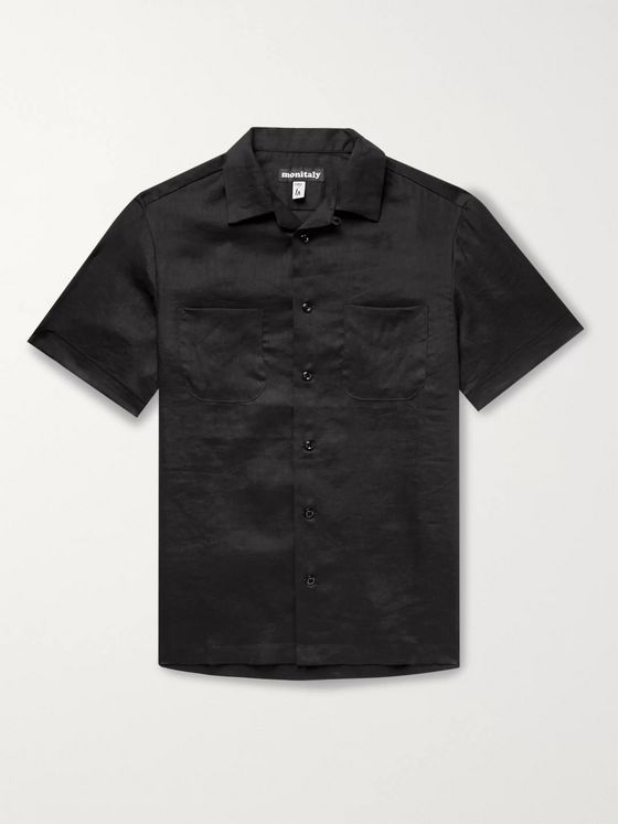 Monitaly Vacation Camp-Collar Linen Shirt