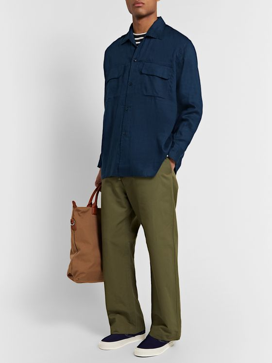 Monitaly Camp-Collar Linen Shirt