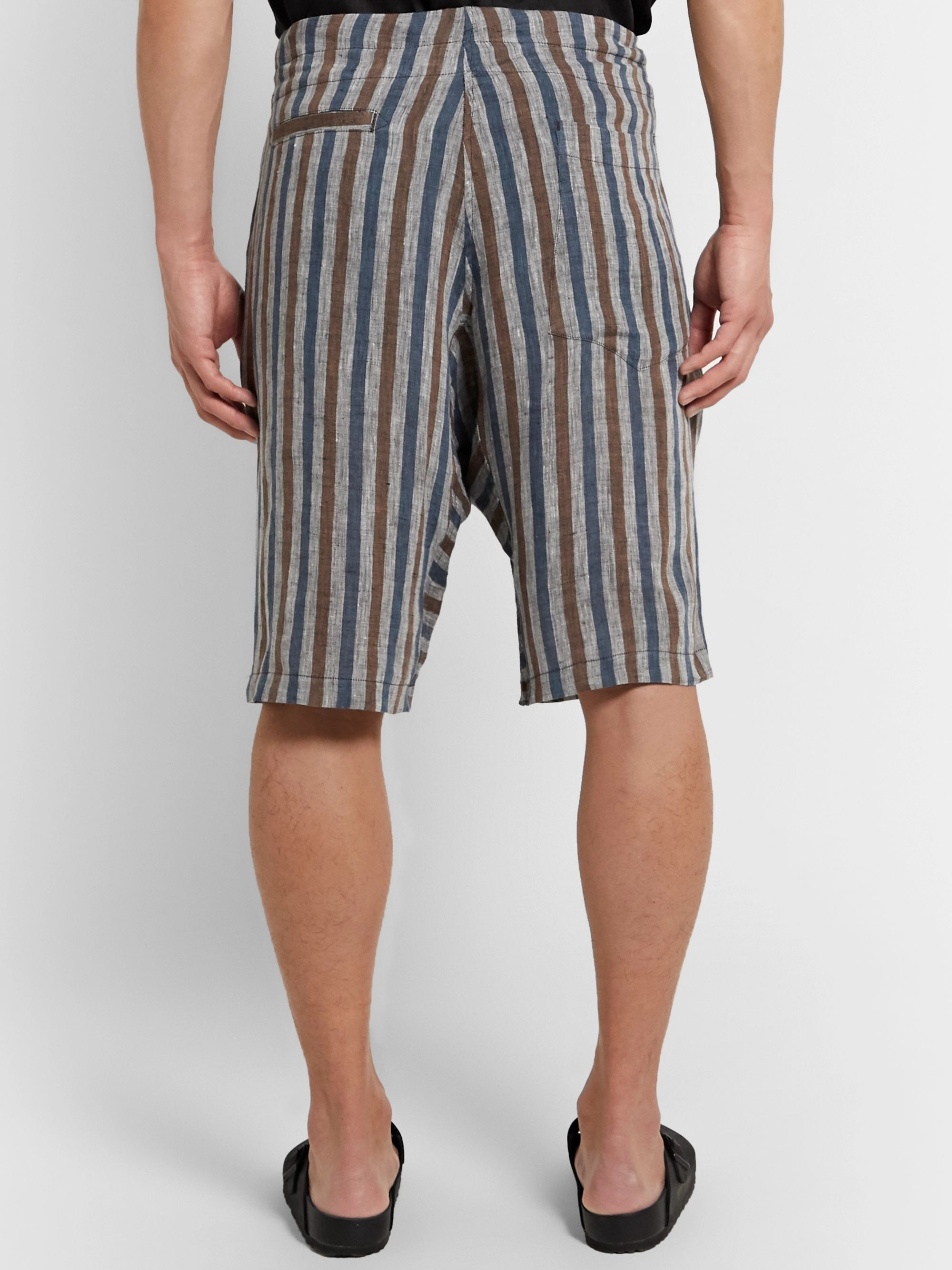 Monitaly Pleated Cotton Drawstring Shorts