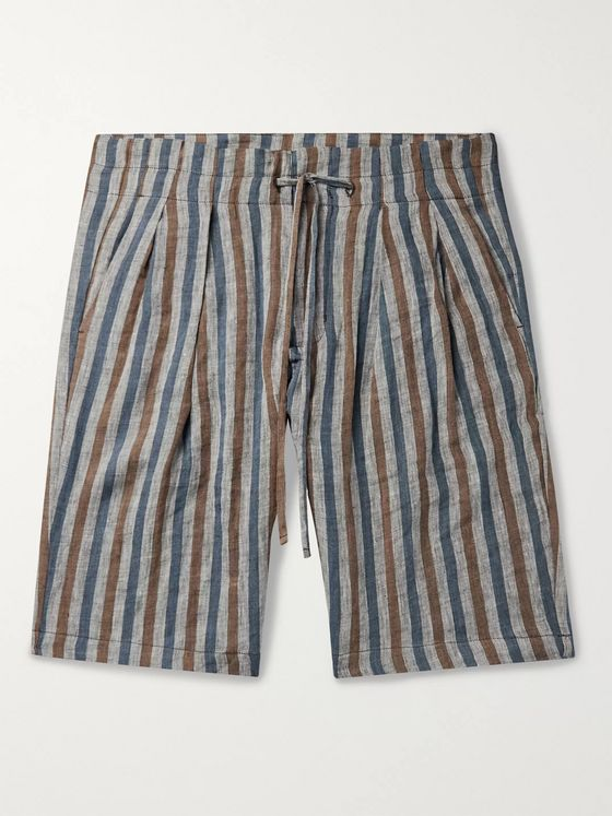Monitaly Pleated Striped Linen Drawstring Shorts