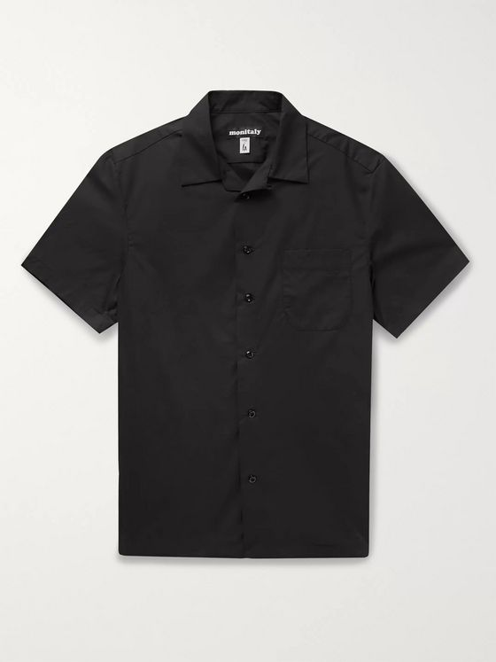 Monitaly Weekend Camp-Collar Printed Cotton-Poplin Shirt