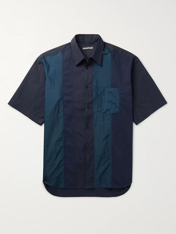 Monitaly Oversized Panelled Cotton-Poplin, Shell and Ripstop Shirt
