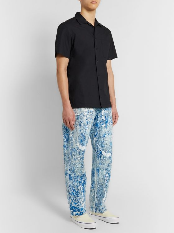Monitaly Paint-Splattered Tie-Dyed Denim Jeans