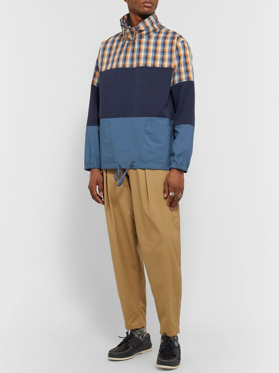 Monitaly Panelled Checked Cotton, Ripstop and Shell Pullover Jacket