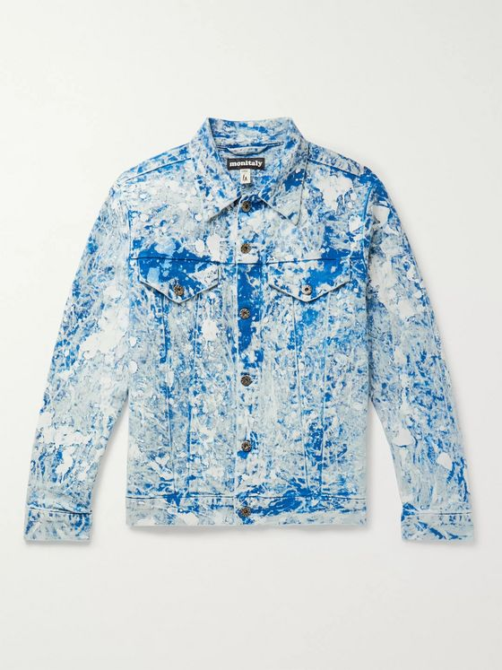 Monitaly Paint-Splattered Tie-Dyed Denim Jacket