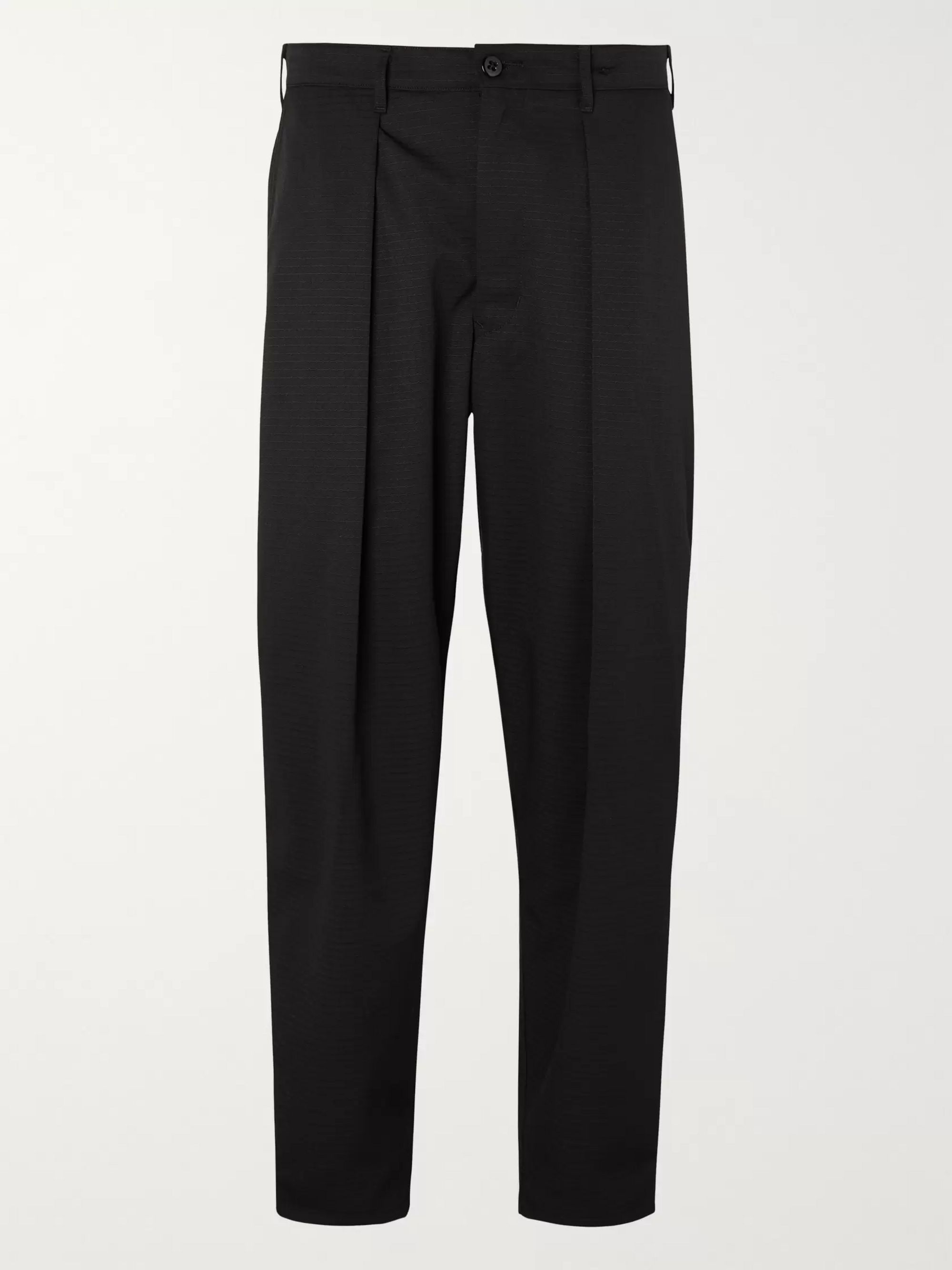 Monitaly Tapered Cropped Pleated Vancloth Cotton Oxford Trousers