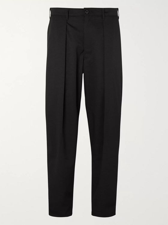 Monitaly Black Tapered Cropped Pleated Segal Ripstop Trousers