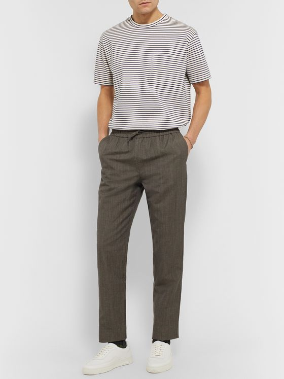 De Bonne Facture Tapered Prince of Wales Checked Wool and Linen-Blend Drawstring Trousers