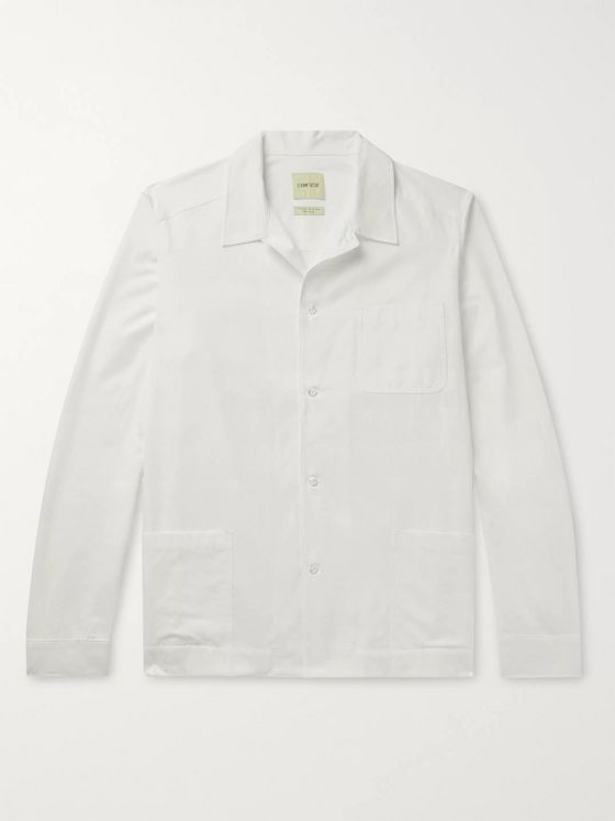 De Bonne Facture Camp-Collar Cotton-Poplin Shirt Jacket