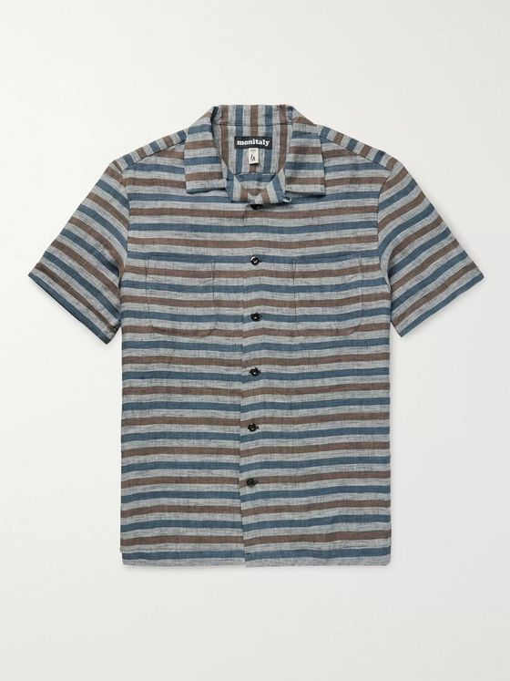 Monitaly Vacation Camp-Collar Striped Linen Shirt