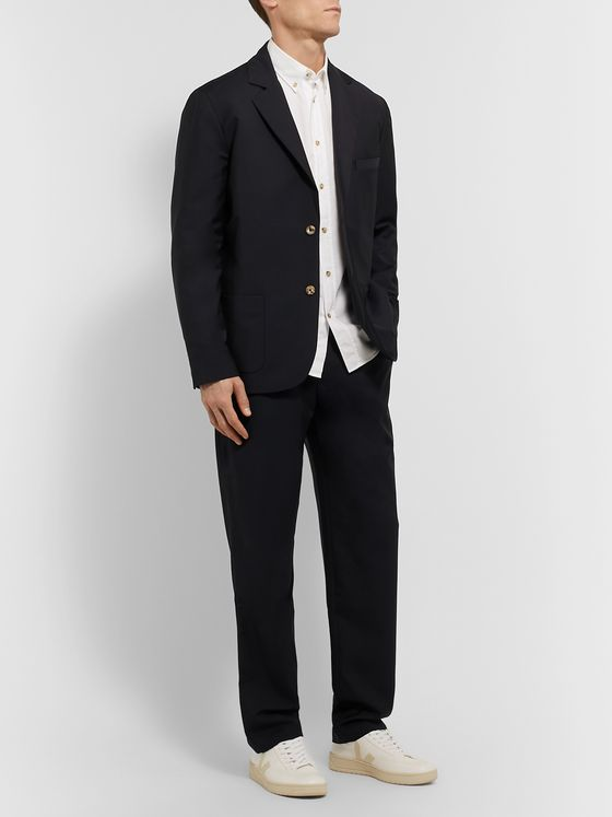 De Bonne Facture Tapered Pleated Wool Suit Trousers