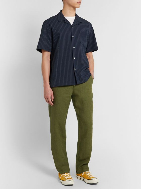 Howlin' Cocktail Camp-Collar Pinstriped Cotton-Blend Seersucker Shirt