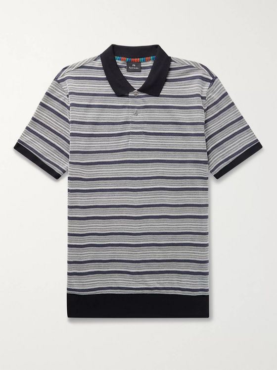 PS Paul Smith Contrast-Trimmed Cotton-Blend Jacquard Polo Shirt