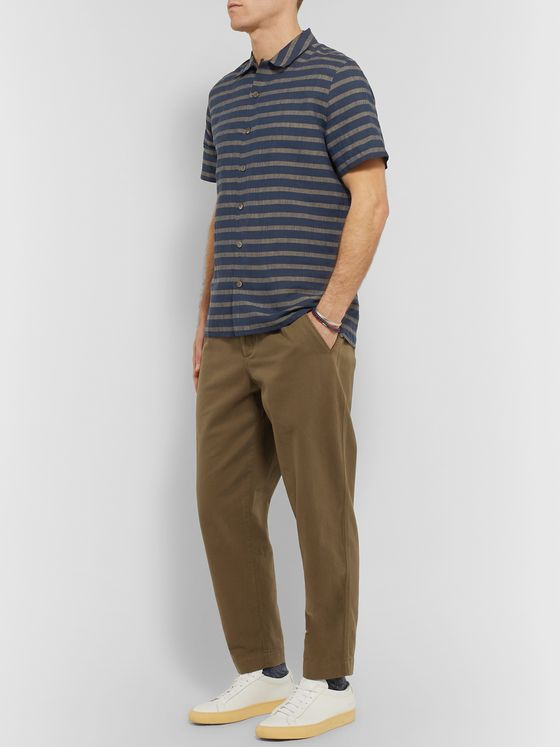 PS Paul Smith Camp-Collar Striped Cotton and Linen-Blend Shirt