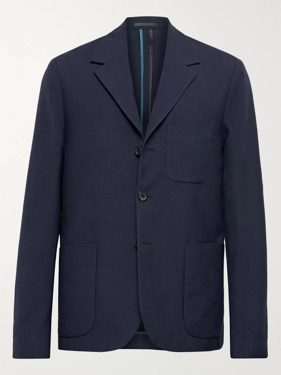 PS Paul Smith Navy Unstructured Gingham Wool and Cotton-Blend Blazer
