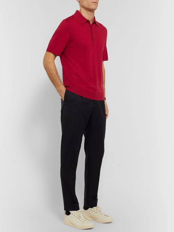 PS Paul Smith Contrast-Tipped Merino Wool Polo Shirt