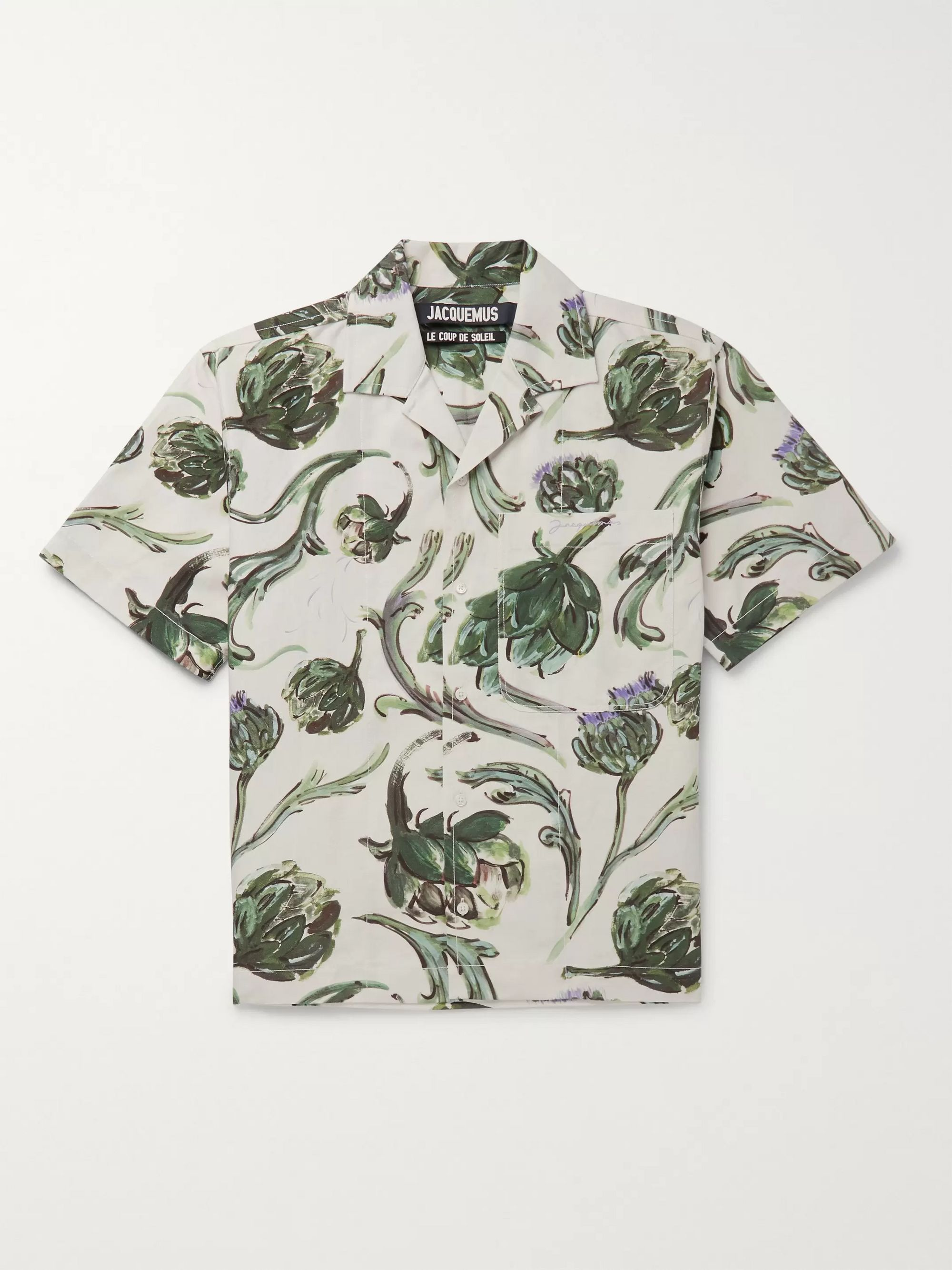 Jacquemus La Chemise Jean Camp-Collar Printed Cotton and Linen-Blend Shirt