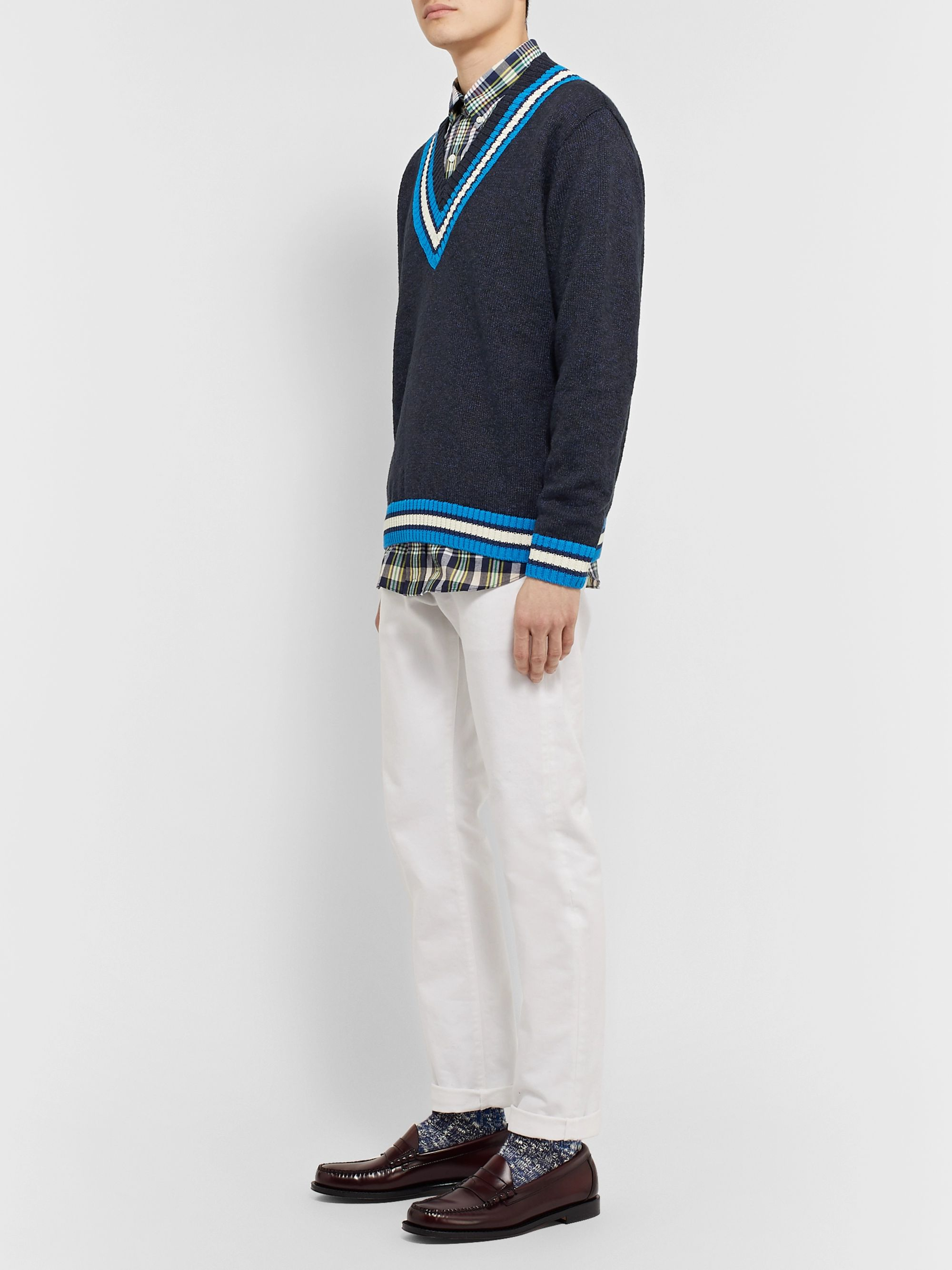 J.Press Striped Linen and Cotton-Blend Sweater