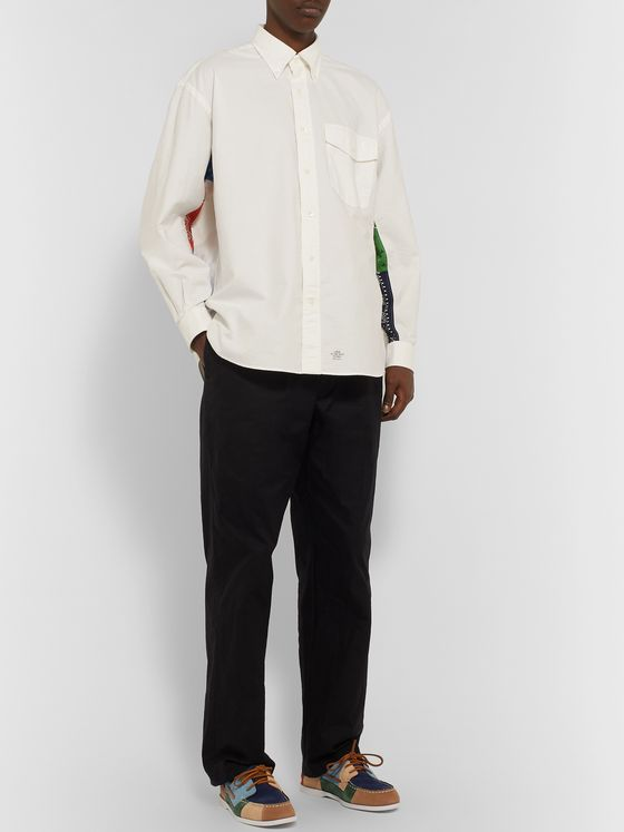 J.Press Oversized Button-Down Collar Bandana-Detailed Cotton Oxford Shirt