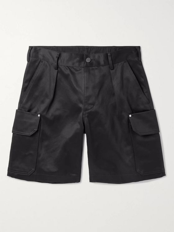 J.Press Wide-Leg Pleated Cotton-Twill Cargo Shorts