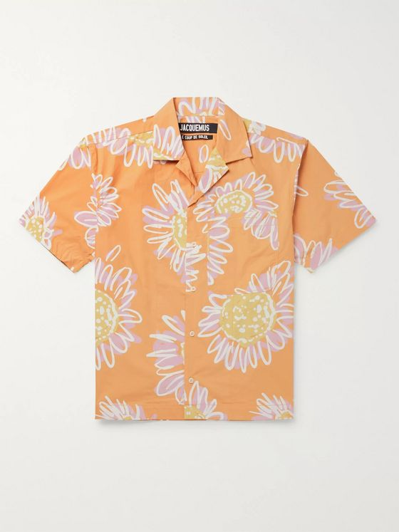 Jacquemus Jean Camp-Collar Printed Cotton-Poplin Shirt