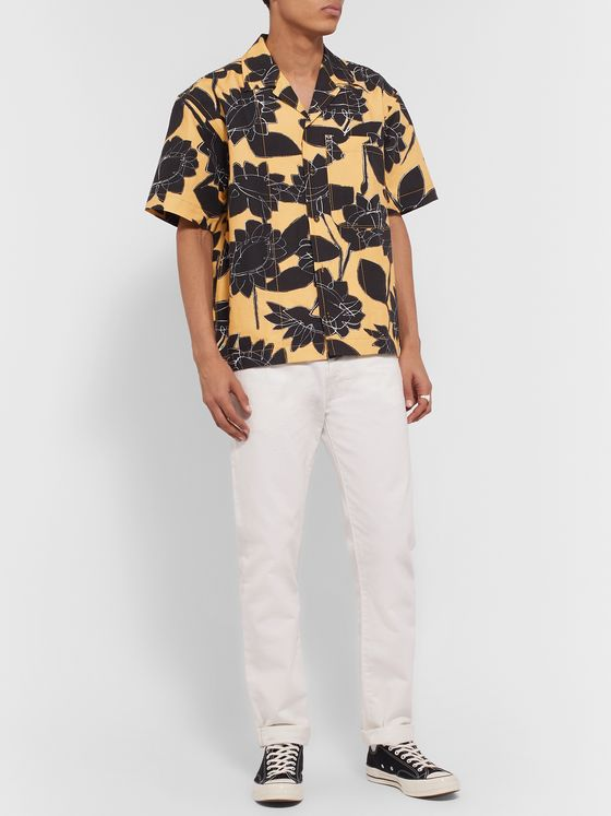 Jacquemus Jean Camp-Collar Printed Linen and Cotton-Blend Shirt