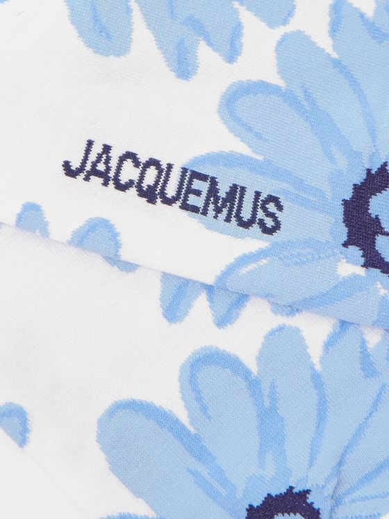 Jacquemus Floral-Intarsia Stretch Cotton-Blend Socks