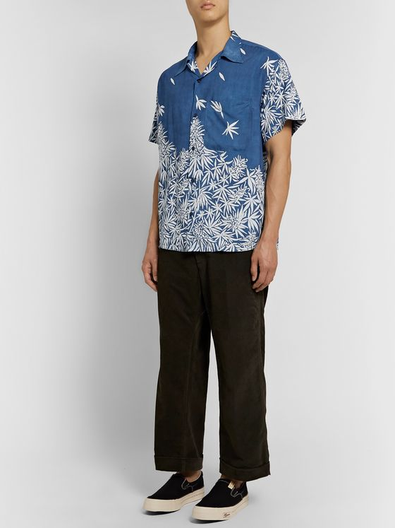 Story Mfg. Shore Camp-Collar Printed Indigo-Dyed Organic Cotton Shirt