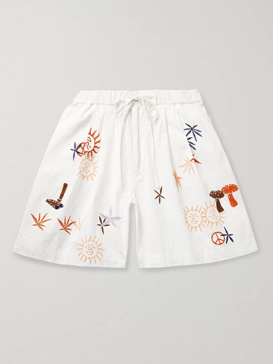 Story Mfg. Wide-Leg Printed Organic Cotton Drawstring Shorts