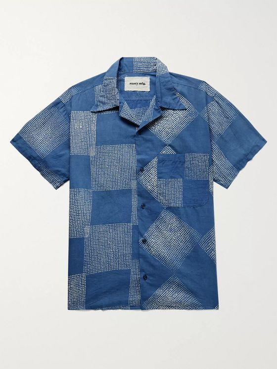 Story Mfg. Camp-Collar Patchwork Organic Cotton Shirt