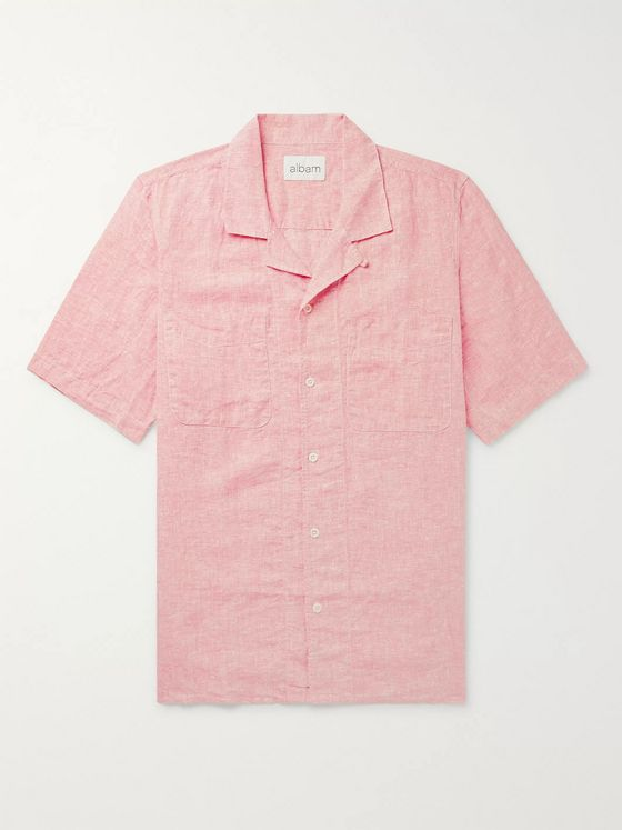 Albam Camp-Collar Linen Shirt