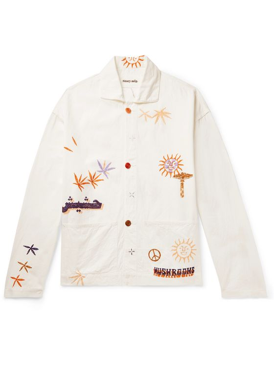 Story Mfg. Short on Time Embroidered Printed Organic Cotton-Twill Chore Jacket