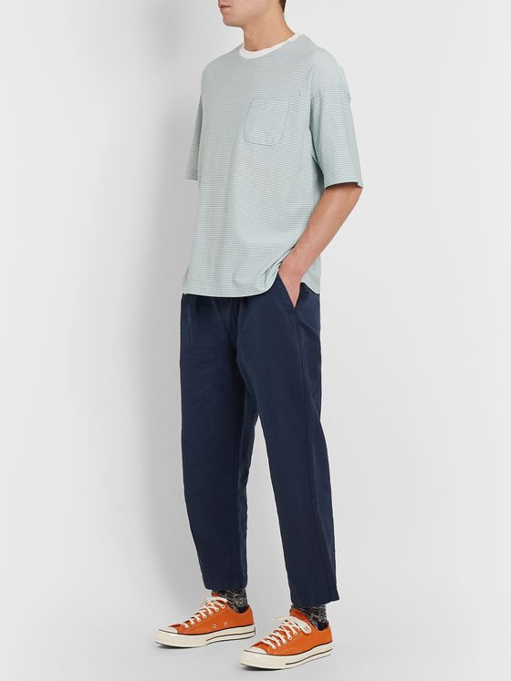 Albam Wide-Leg Pleated Linen and Cotton-Blend Trousers