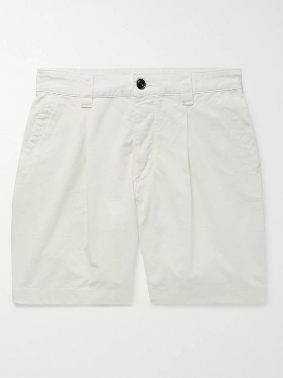 Albam Slim-Fit Garment-Dyed Pleated Cotton-Ripstop Shorts