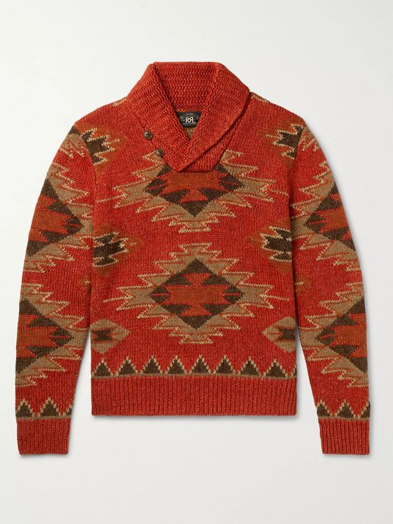 RRL Shawl-Collar Intarsia Linen, Cotton, Silk and Wool-Blend Sweater