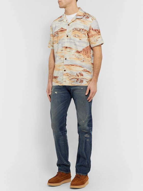 RRL Camp-Collar Printed Linen-Blend Shirt