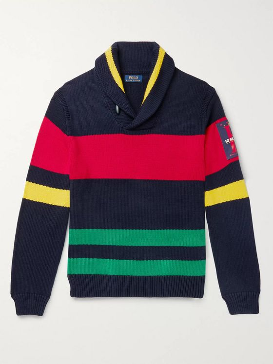 Polo Ralph Lauren Shawl-Collar Appliquéd Striped Cotton Sweater