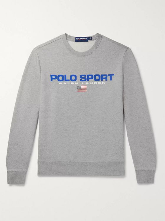 Polo Ralph Lauren Logo-Print Mélange Fleece-Back Cotton-Blend Jersey Sweatshirt