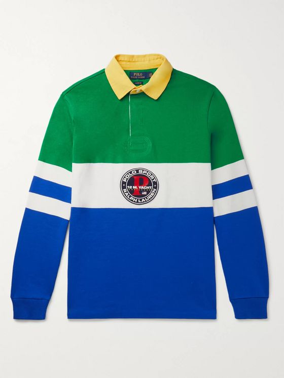 Polo Ralph Lauren Logo-Appliquéd Colour-Block Cotton-Jersey Polo Shirt