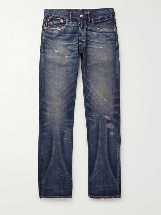 RRL Distressed Selvedge Denim Jeans