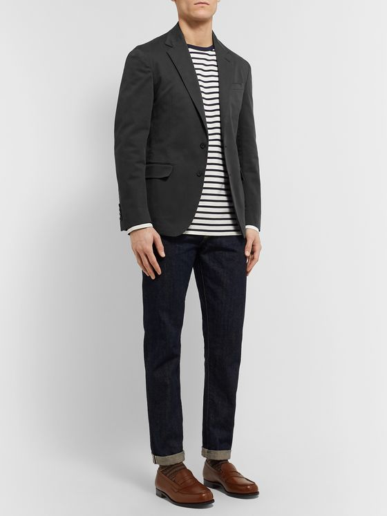Polo Ralph Lauren Black Unstructured Garment-Dyed Stretch-Cotton Twill Blazer