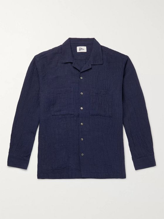 Pilgrim Surf + Supply Vincent Camp-Collar Textured-Linen Shirt