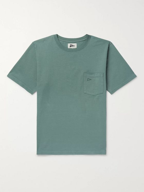 Pilgrim Surf + Supply Logo-Embroidered Mélange Cotton-Jersey T-Shirt