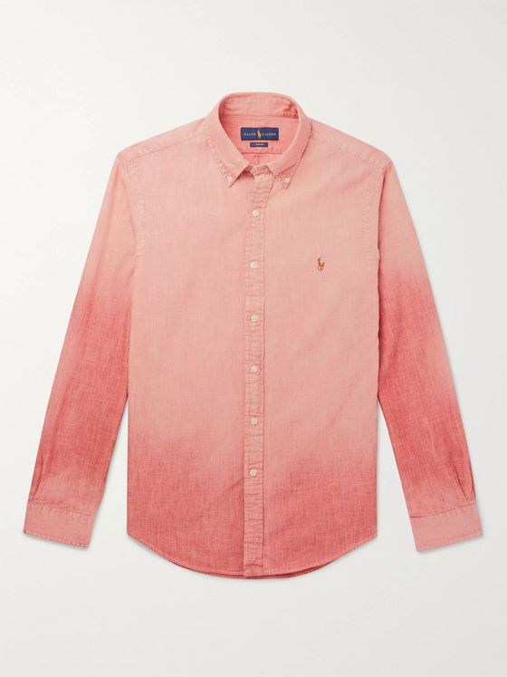 Polo Ralph Lauren Slim-Fit Button-Down Collar Dégradé Linen-Chambray Shirt