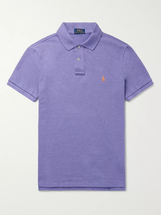 Polo Ralph Lauren Slim-Fit Mélange Stretch Cotton-Piqué Polo Shirt