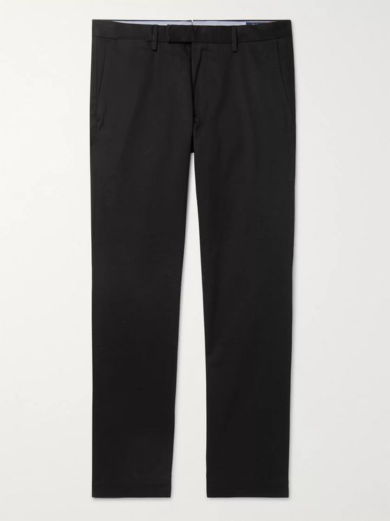 POLO RALPH LAUREN Black Slim-Fit Cotton-Blend Twill Chinos