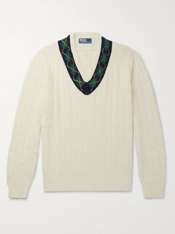 Polo Ralph Lauren Argyle-Trimmed Cable-Knit Cotton and Cashmere-Blend Sweater