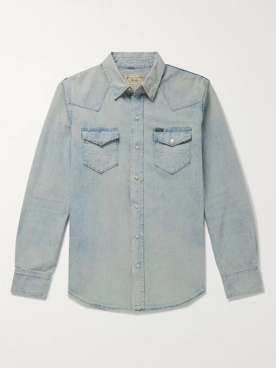 Polo Ralph Lauren Slim-Fit Distressed Denim Western Shirt