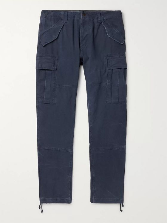 Polo Ralph Lauren Navy Tapered Washed-Cotton Cargo Trousers